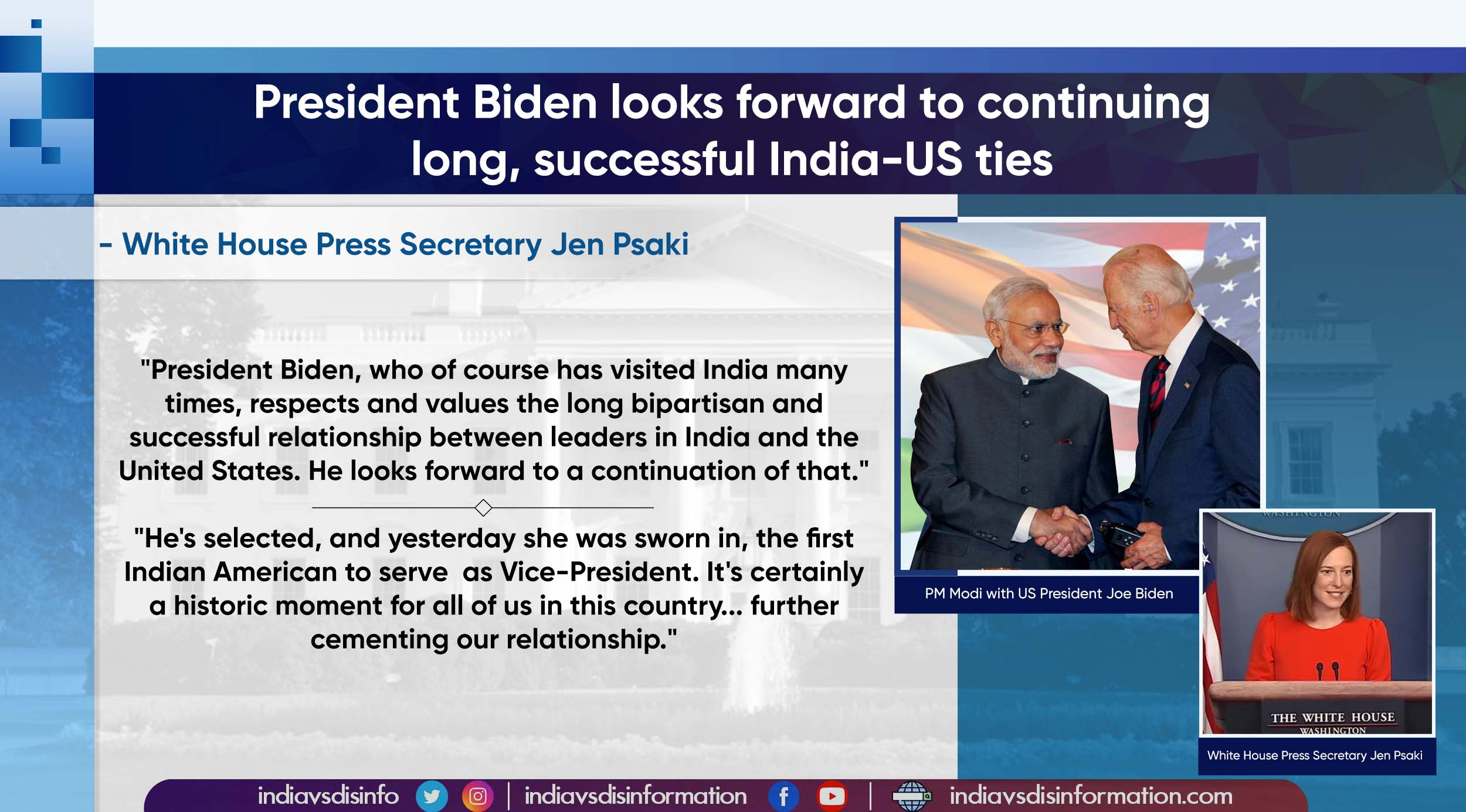 President Biden supports successful ties between US, Indian leaders: White House