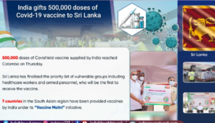 Sri Lanka receives 500,000 doses of Covid-19 vaccine gifted by India