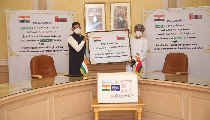 India hands over gift of 100,000 COVID-19 vaccines to Oman
