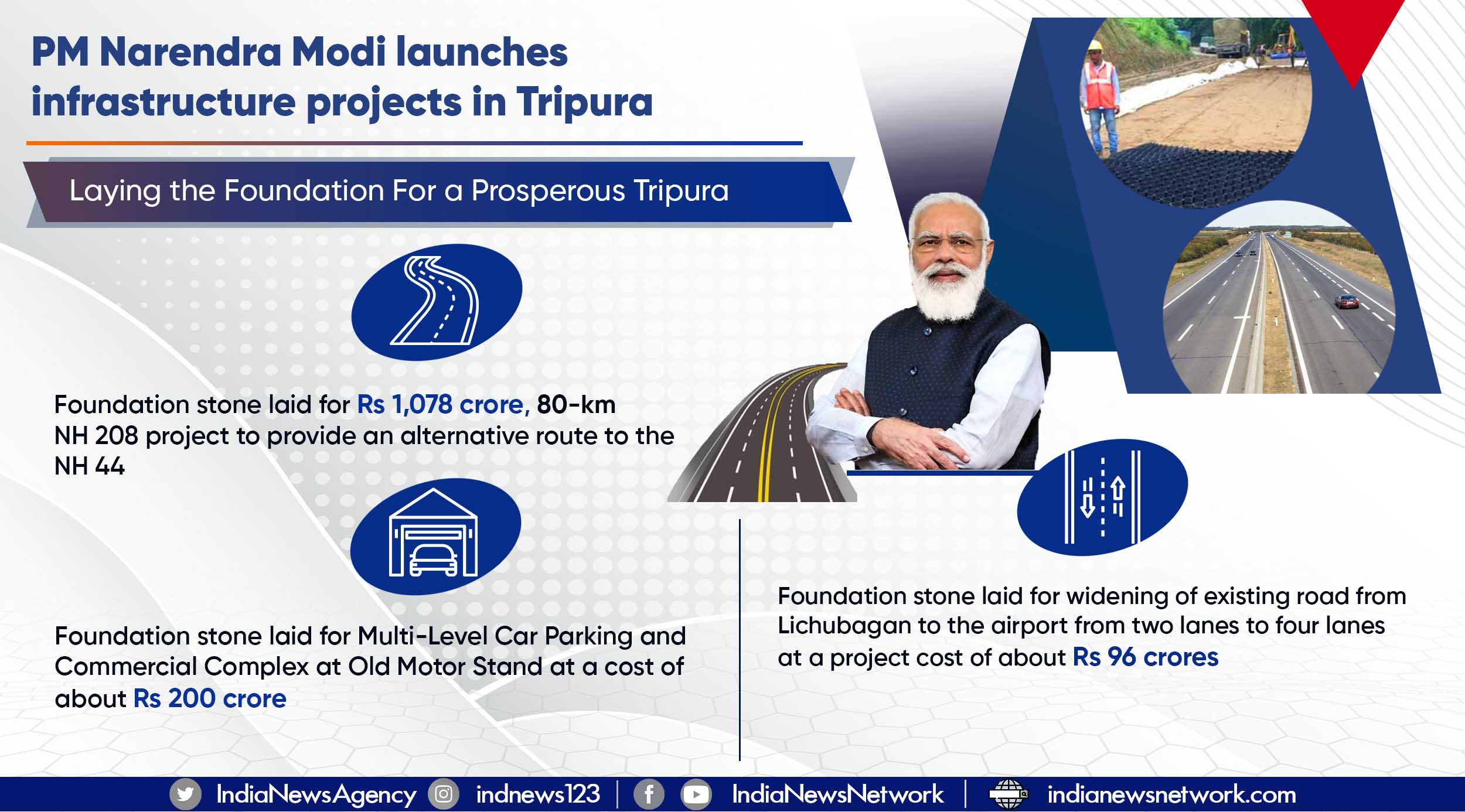 PM Narendra Modi launches infrastructure projects in Tripura