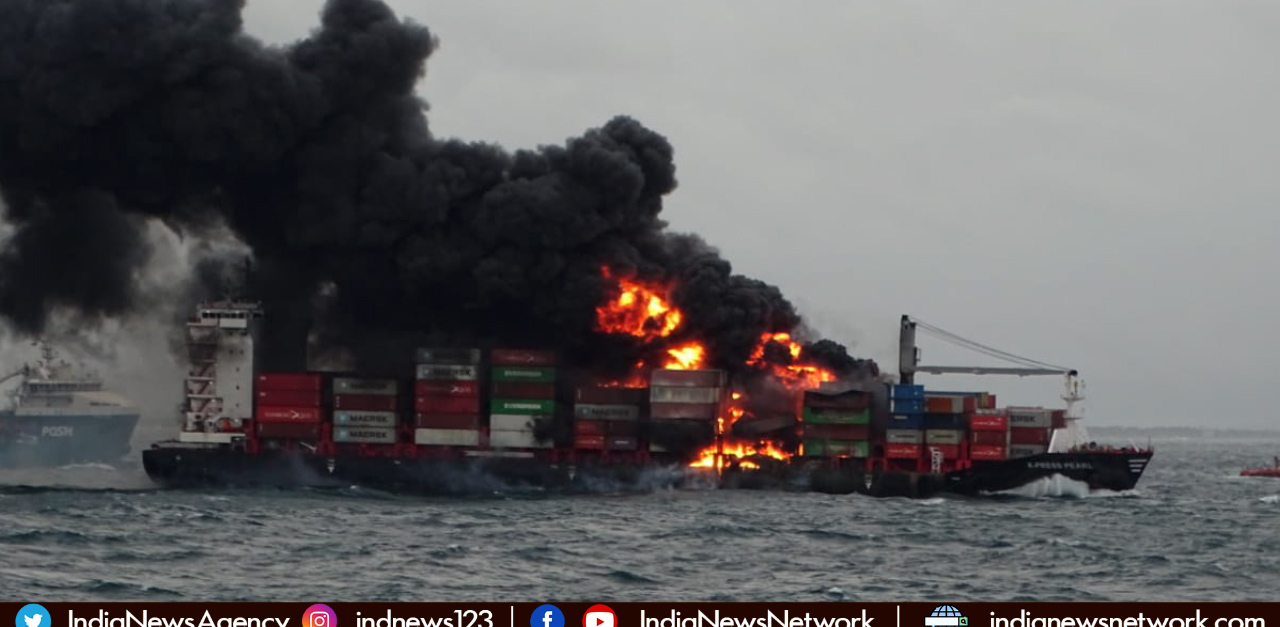 Indian Coast Guard helps battle fire in container ship off Colombo in Sri Lanka