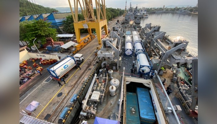 INS Airavat arrives in India with Covid-19 relief material from Vietnam and Singapore