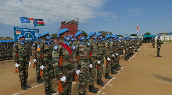 दक्षिण सुडानमा १ सय ३५ भारतीय शान्ति सेना संयुक्त राष्ट्र मेडल बाट सम्मानित