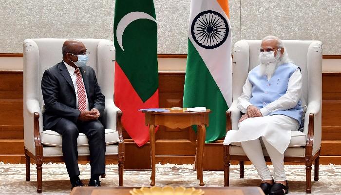 पीजीए निर्वाचित अब्दुल्ला शाहिद र प्रधानमन्त्री मोदी बीच भेटवार्ता