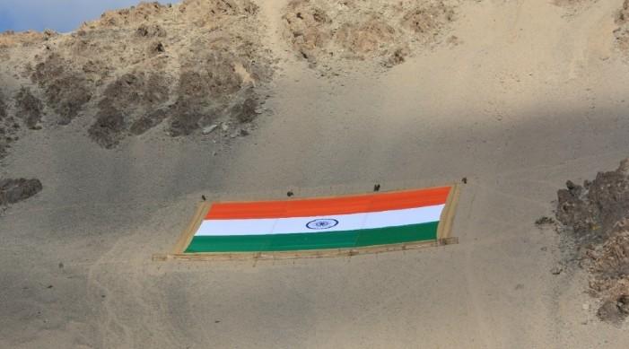 On Gandhi Jayanti, world's largest Khadi National Flag displayed at Leh