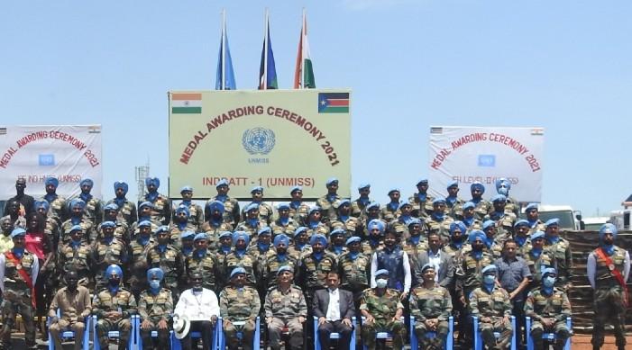 दक्षिण सुडानमा प्रदान गरेको सेवा का निम्ति ८ सय भन्दा बढी भारतीय शान्ति सेना प्रतिष्ठित संयुक्त राष्ट्र पदक द्वारा सम्मानित