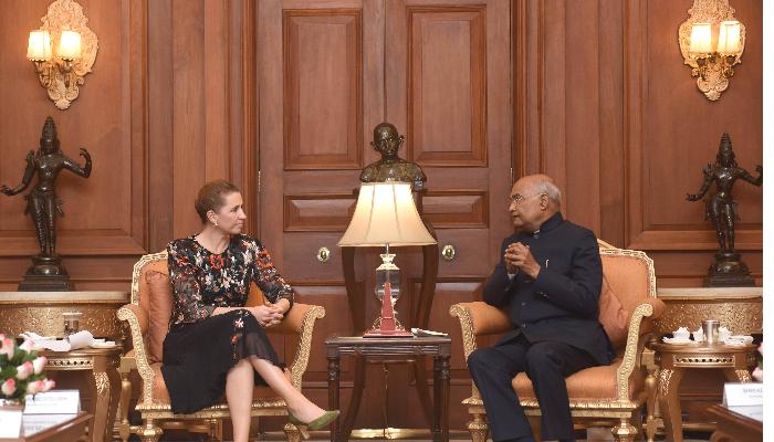 डेनमार्कका प्रधानमन्त्री र भारतीय राष्ट्रपति कोविन्द बीच भेट