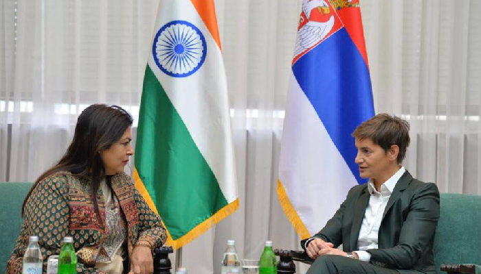 MoS Lekhi meets Serbian PM, discusses trade, cultural exchanges and people-to-people contacts