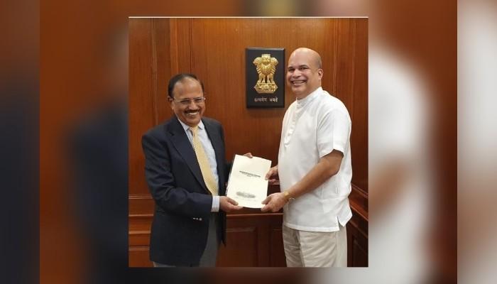High Commissioner of Sri Lanka to India Milinda Moragoda calls on India's National Security Advisor Ajit Doval